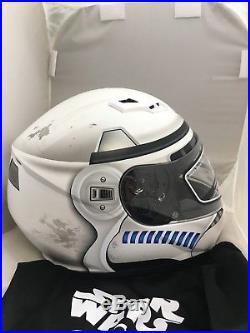 Hjc Cs-r3 Star Wars Storm Troopers Motorcycle Helmet Medium Free Silver Shield