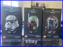 LEGO Star Wars Fighter Pilot, Stormtrooper & Bobba Fett Helmet Bundle! NEW
