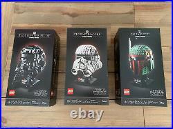 LEGO Tie Fighter (75274) Boba Fett (75277) Stormtrooper (75276) UCS Helmets BNIB