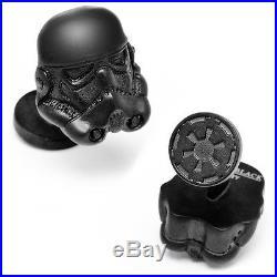 Star Wars Matte Black 3-D Storm Trooper Helmet Cufflinks cufff links NIB FS