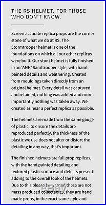 Star Wars RS Prop Masters ANH Stormtrooper Helmet Sandtrooper ANOVOS EFX