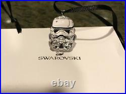 Swarovski Crystal Star Wars Darth Vader & Stormtrooper Helmet Ornament NIB