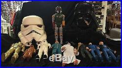 Vintage Star Wars Collectible Storm Trooper Helmet, Darth Vader Case, Action Fig